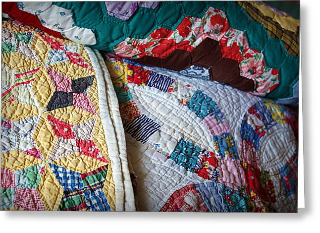 Colorful Quilts Greeting Cards - Quilted Comfort Greeting Card by Cricket Hackmann
