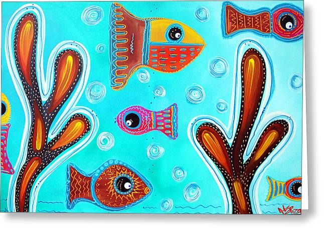 Quilted Fish Greeting Card by Laura Barbosa