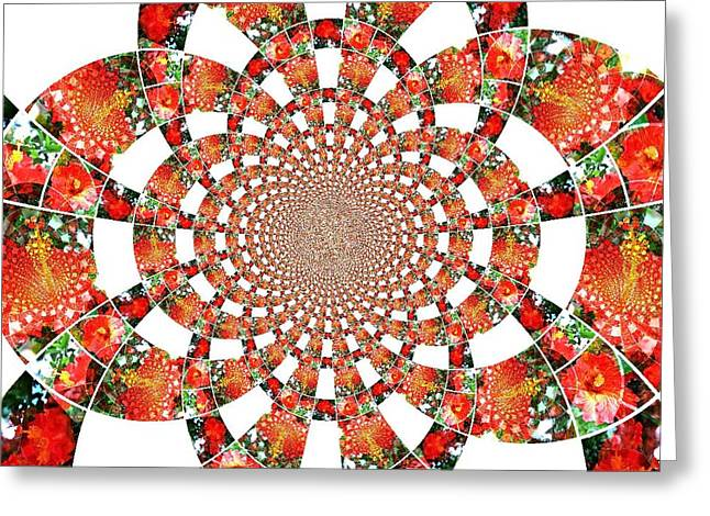 Greeting Card featuring the digital art Quilted Flower by Amanda Eberly-Kudamik