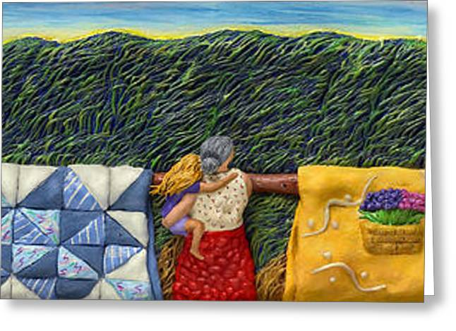 Windy Mixed Media Greeting Cards - Quilted Harvest Greeting Card by Anne Klar