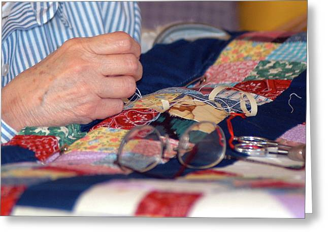 Quilter's Hands Greeting Card by Wanda Brandon