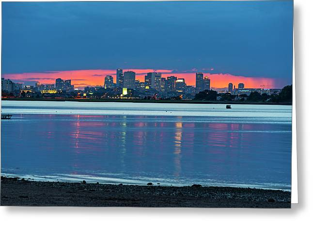 Quincy Ma Red Sunset Behind The Boston Skyline Wollaston Beach Greeting Card
