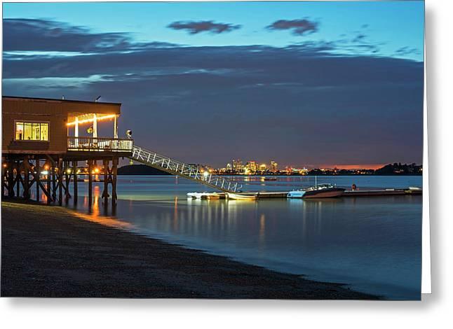 Quincy Ma Wollaston Beach As Dusk Greeting Card