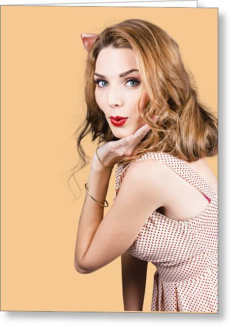 Quirky Portrait Of A Posing 50s Girl In Pinup Style Greeting Card by Jorgo Photography - Wall Art Gallery