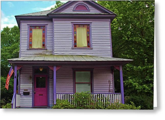Quirky Purple House Greeting Card by Cynthia Guinn
