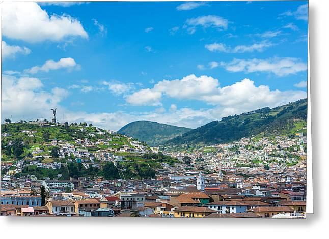 Quito, Ecuador Cityscape Greeting Card by Jess Kraft
