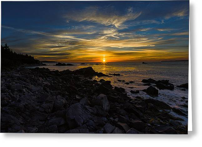 Quoddy Head State Park Sunrise Panorama Greeting Card by Marty Saccone