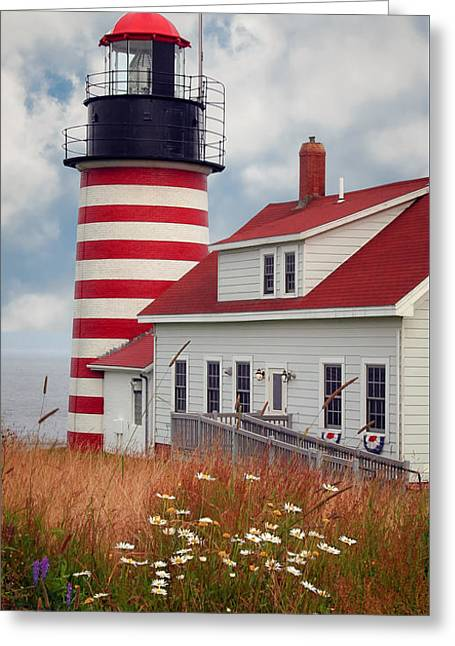 Quoddy Lighthouse Afternoon Greeting Card by Brenda Giasson