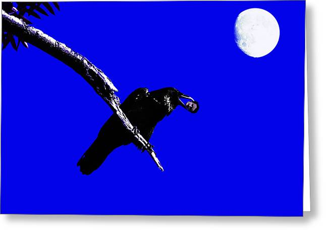 Quoth The Raven Nevermore . Blue Greeting Card by Wingsdomain Art and Photography