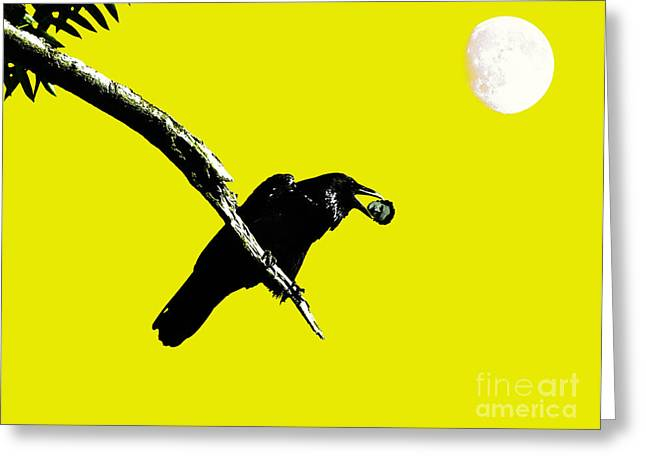 Quoth The Raven Nevermore . Yellow Greeting Card by Wingsdomain Art and Photography