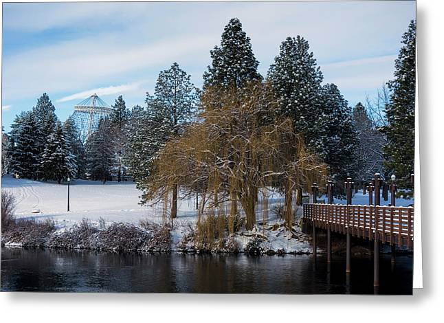 R F P Centennial Trail Spokane Winter 2 Greeting Card by Daniel Hagerman