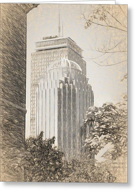 R2d2 Building And The Prudential Center Greeting Card