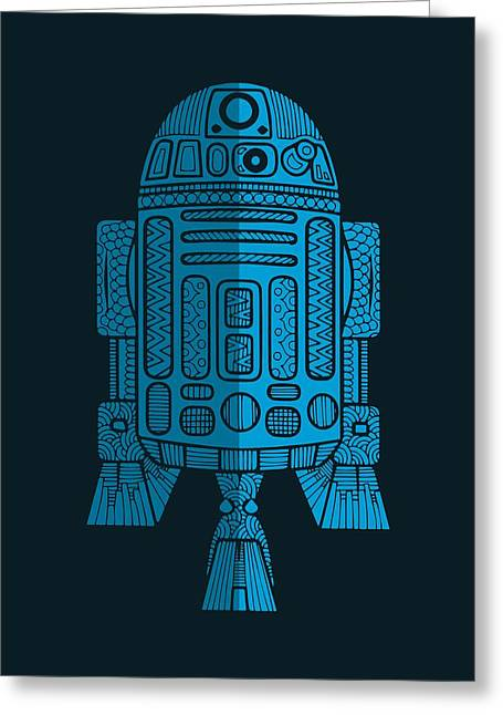 R2d2 - Star Wars Art - Blue 2 Greeting Card