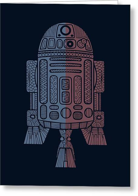 R2d2 - Star Wars Art - Blue, Red Greeting Card