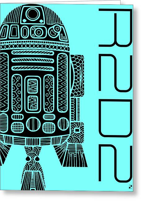 R2d2 - Star Wars Art - Blue Greeting Card