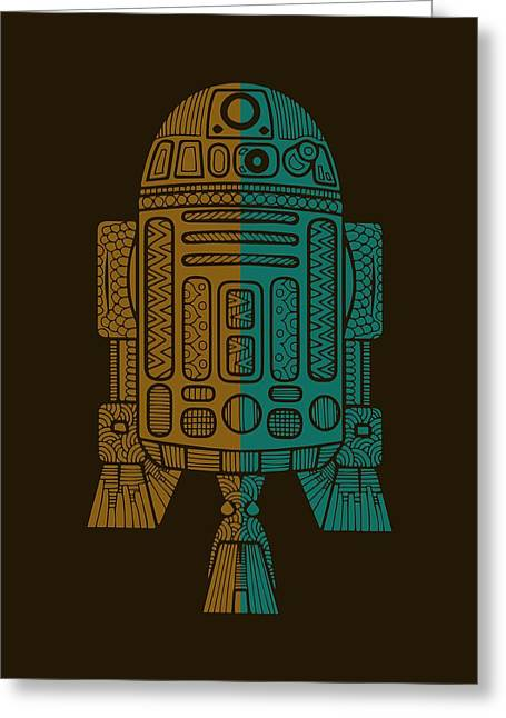 R2d2 - Star Wars Art - Brown, Blue Greeting Card