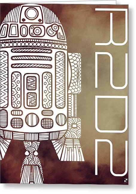 R2d2 - Star Wars Art - Brown Greeting Card