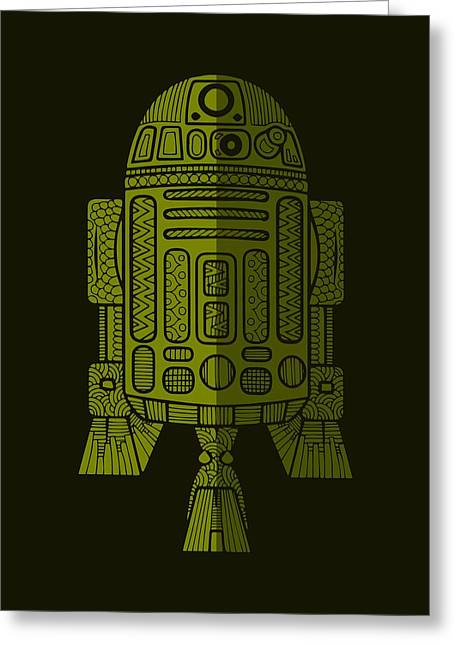 R2d2 - Star Wars Art - Green 2 Greeting Card