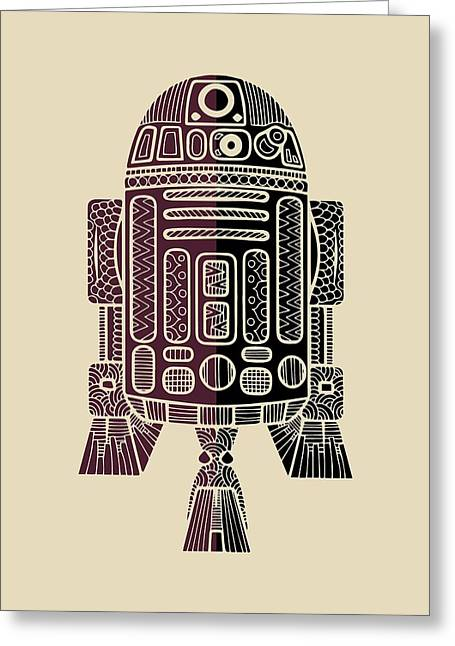 R2d2 - Star Wars Art - Purple Greeting Card