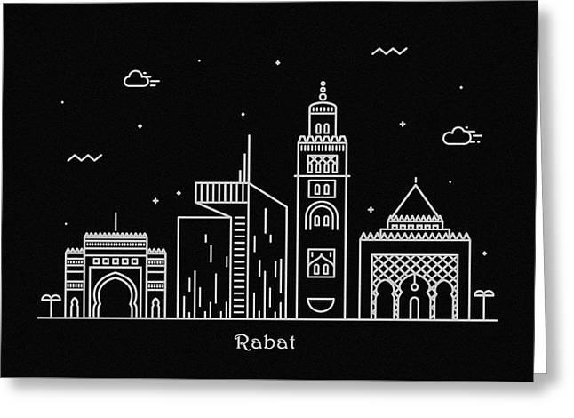 Rabat Skyline Travel Poster Greeting Card