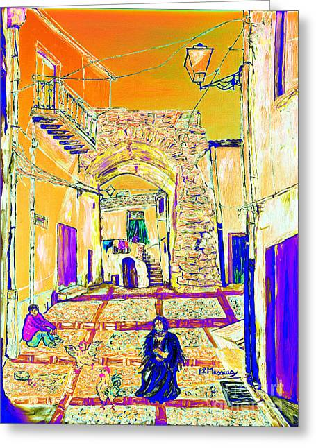 Greeting Card featuring the painting Rabato  by Loredana Messina