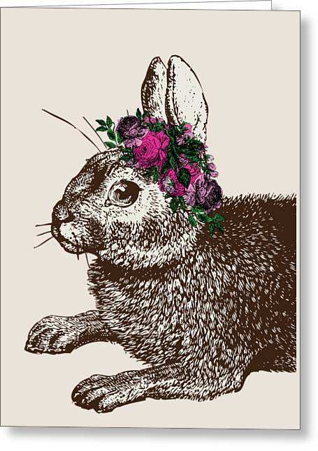 Rabbit And Roses Greeting Card