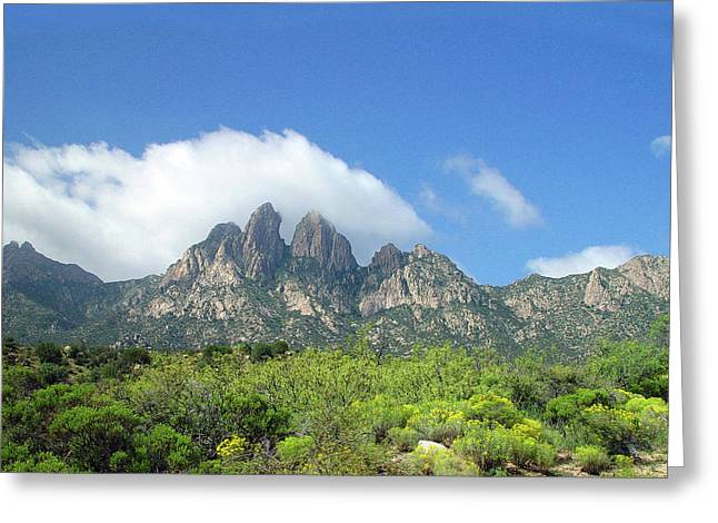 Greeting Card featuring the photograph  Organ Mountains Rabbit Ears by Jack Pumphrey