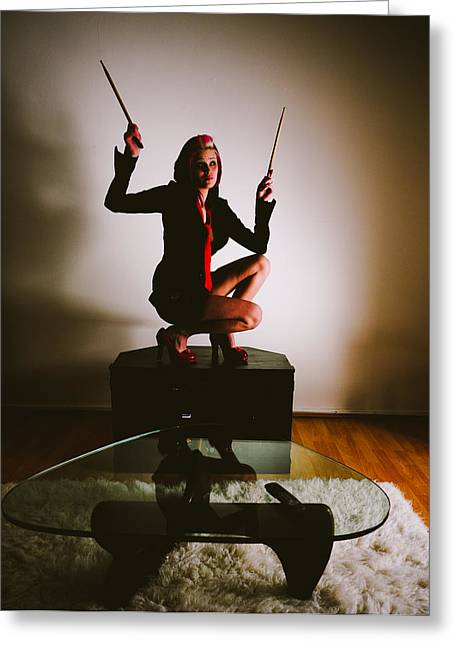 Drummers Photographs Greeting Cards - Rabbit Ears Greeting Card by Scott Sawyer