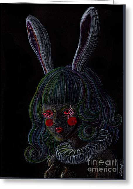 Rabbit Girl -black- Greeting Card by Akiko Okabe