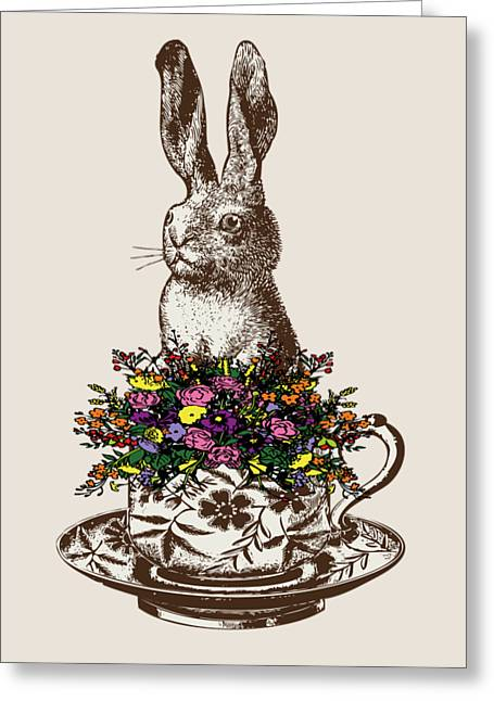 Rabbit In A Teacup Greeting Card by Eclectic at HeART