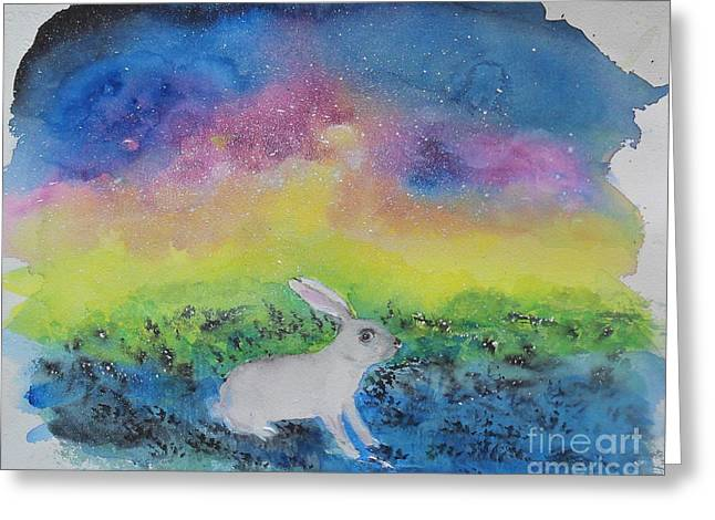 Greeting Card featuring the painting Rabbit In Galaxy 5 by Doris Blessington