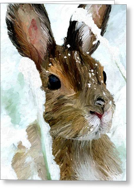 Greeting Card featuring the painting Rabbit In Snow by James Shepherd