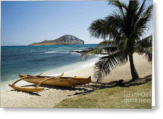Rabbit Island And Koa Canoe Greeting Card by Peter French - Printscapes