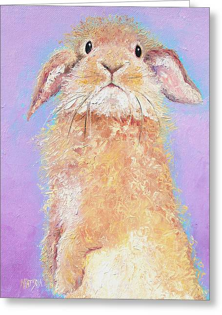 Rabbit Painting - Babu Greeting Card by Jan Matson