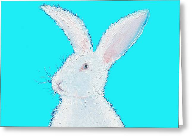 Rabbit Painting - White Bunny On Blue Greeting Card