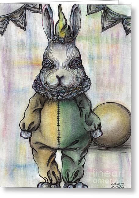 Rabbit Pierrot Greeting Card