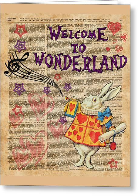 Rabbit Welcome To .. Alice In Wonderland Greeting Card by Jacob Kuch