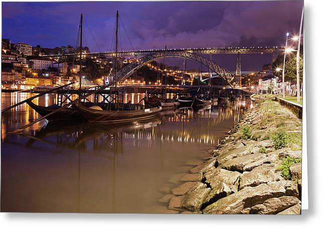 Rabelo Boats On Douro River In Porto By Night Greeting Card