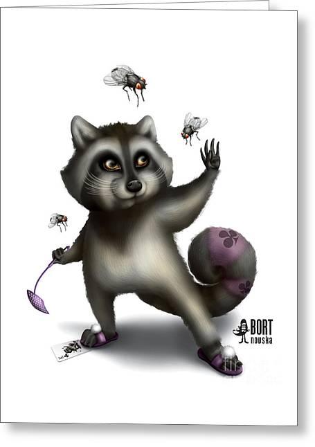 Raccoon King Greeting Card by Vlada Bortnovska