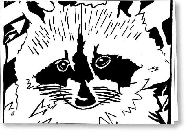 Raccoon Maze Greeting Card by Yonatan Frimer Maze Artist