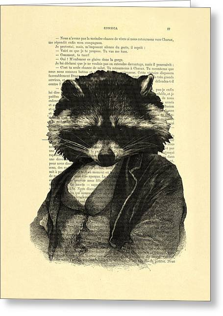 Raccoon Portrait, Animals In Clothes Greeting Card