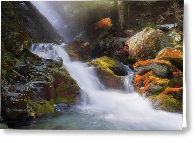 Greeting Card featuring the photograph Race Brook Falls 2017 Square by Bill Wakeley
