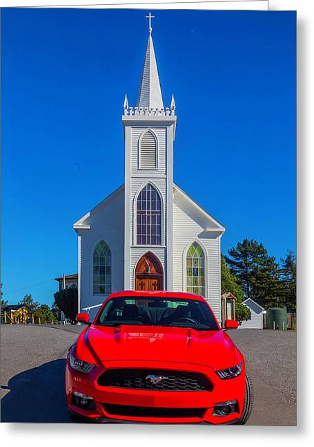 Race Car Red Mustang Greeting Card by Garry Gay