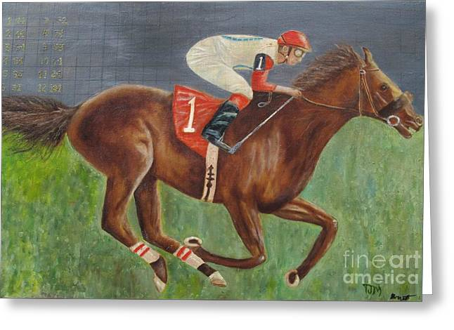 Race Horse Big Brown Greeting Card by Anthony Morretta