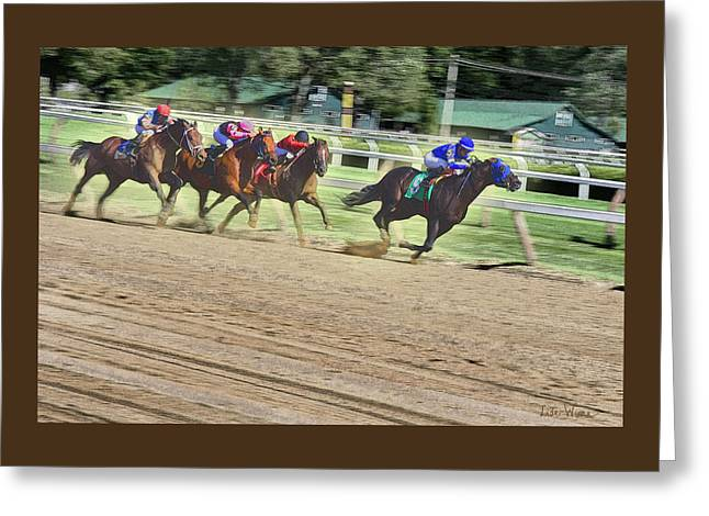 Race Horses In Motion Greeting Card by Lise Winne