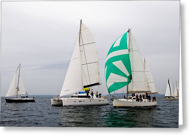 Blue Sailboats Greeting Cards - Race in the Clouds Greeting Card by Tom Dowd