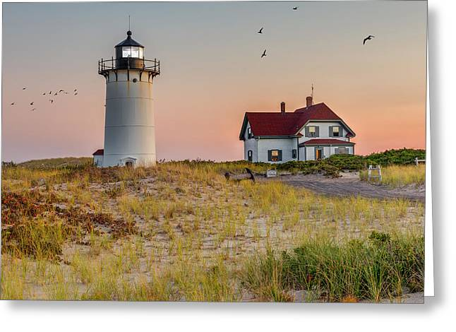 Race Point Light Cape Cod Square Greeting Card by Bill Wakeley