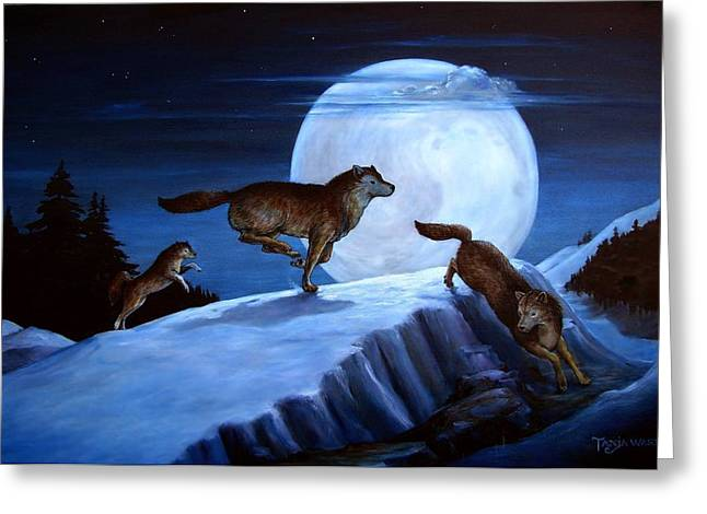Race The Moon Greeting Card by Tanja Ware