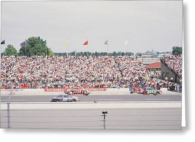 Racecars On A Motor Racing Track Greeting Card by Panoramic Images