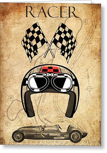 Racer Greeting Card by Greg Sharpe